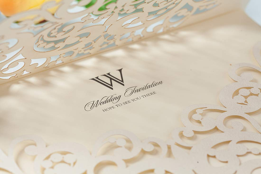 for Wedding Engagement Paraboda Graduation Rehearsal Dinner Birthday Party 1 Package WISHMADE White Laser Cut Invites Heart Design Pintable Invitation