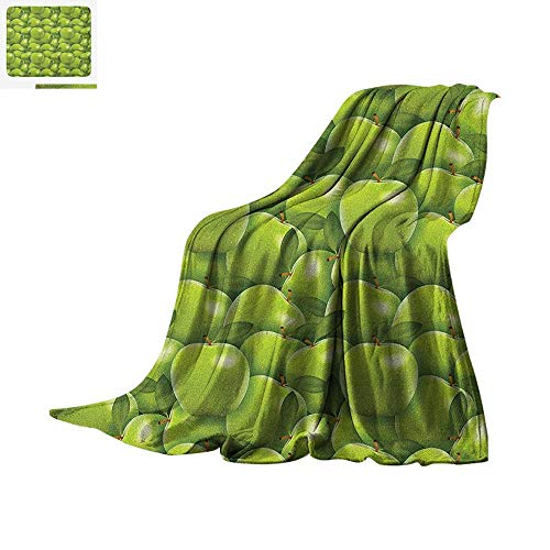 Apple Warm Microfiber All Season Blanket Agriculture Harvest Pattern with Granny Smith Apple Drawing Autumn Fruit Summer Quilt Comforter 62