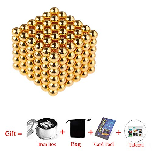 Beautychen Magnetic Cube 216pcs 5mm Magnets Blocks Magnetic Square Cube Children's Puzzle Magic Cubes DIY Educational Toys for Kids Intelligence Development and Stress Relief (Golden) by Beautychen (Image #1)