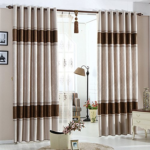 KoTing Home Fashion Brown European Pattern Embossing Country Thermal Insulated Room Darkening Curtain Grommet Top,1 Panel,50 by 96-Inches