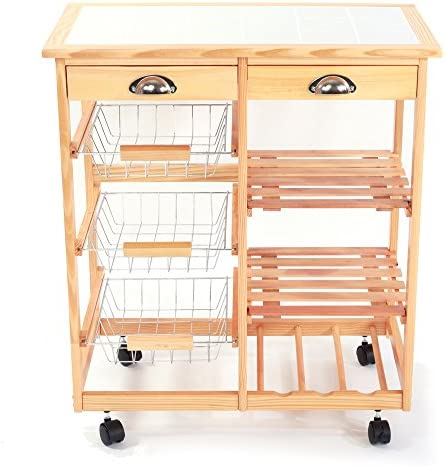 MTFY Kitchen Dining Room Cart 2-Drawer Removable Storage Rack