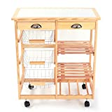 FCH 4-tier Kitchen Storage Cart Dining Trolley w/ Drawers Stand CounterTop Table (Wood Color)