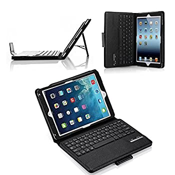 Ipad Air Ipad Air 2 Keyboard + Leather Cover, Poweradd Bluetooth Ipad Keyboard Cover W Removable Wireless Keyboard, Built-in Multi-angle Stand For Apple Ipad Air 12, Ipad 56 [Ios 10+ Support] 8