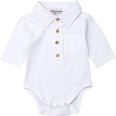 Mameluco Body de Bebé Recién Nacido Caballero Bodysuit Polo para Niños Camiseta de Mono de Manga Larga Una Pieza Traje Cuerpo Invierno de Hogar para Dormir Casual: Amazon.es: Ropa y accesorios