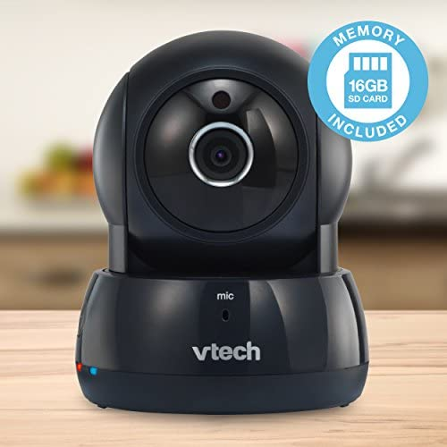 VTech VC9311-122 Wi-Fi IP Camera with 720p HD, Remote Pan Tilt, Free Live Streaming, Automatic Infrared Night Vision 16 GB SD Card, Graphite