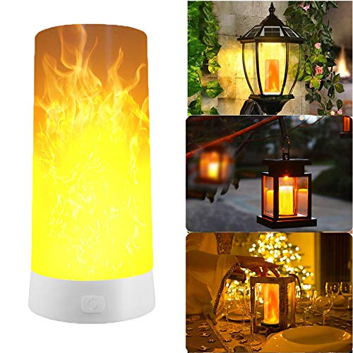 LED Flameless Candles Effect Magnetic Light, USB Rechargeable Flickering Flame Candle Bulb Lamp Lantern LED Magnetic Light (Flame) ()