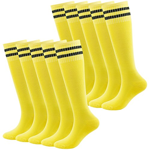 - Fasoar Unisex Youth Stretch Team Sports Running Football Knee High Socks 10 Pairs Yellow