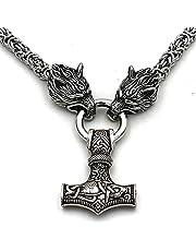 NICEWL Dodomop Ravens van Odin met Thor's Hammer Mjolnir Hanger Ketting-Viking Metalen Wolf Head Chain Cord, Nordic Mythologie Mannen Roestvrij Staal heidense Sieraden Amulet