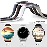 Bluetooth Smart Watch KW18 1.3 inches IPS Round Touch Screen Smartwatch Phone with SIM Card Slot,Sleep Monitor,Heart Rate Monitor and Pedometer for IOS/Android Device (Dark Grey)