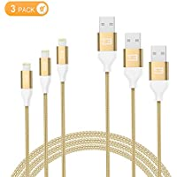 Marvotek 3-Pack 6 FT Nylon Braided iPhone Charger Cable Tangle-free Lightning Cable for iPhone iPad iPod Gold