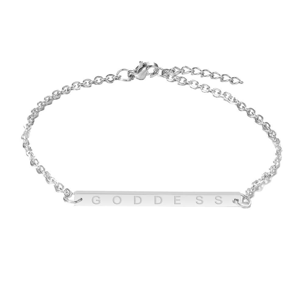 Everrikle Bracelet Bangle Jewelry,Fashion Simple Women Rectangular English Letter Goddess Chain Bracelet Jewelry
