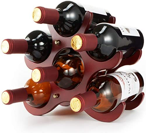 TXZWJZ Countertop Small Wood Wine Rack 6 Bottle Tabletop Wine Bottle Holder,Storage Stand