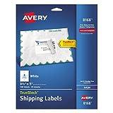 Avery Shipping Address Labels, Inkjet Printers, 100 Labels, 3-1/2 x 5, Permanent Adhesive, TrueBlock (8168), White