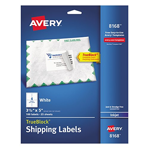 Avery Shipping Address Labels, Inkjet Printers, 100 Labels,