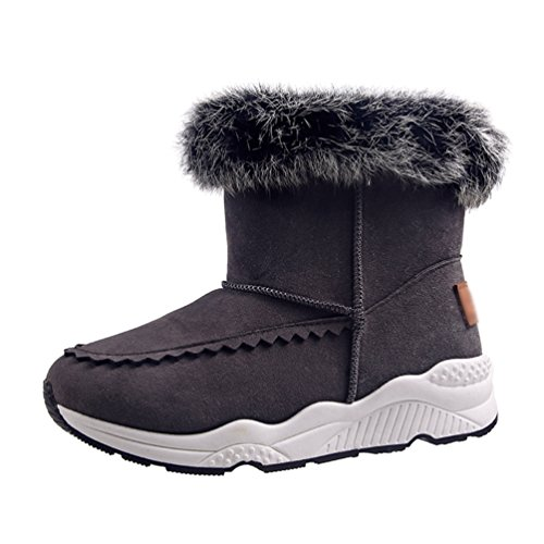 Jitong Women's Thick Sole Ankle Boot Faux Fur Lined Suede Boots Slip On Warm Short Booties Gray IkjMKw