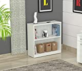 Inval Laricina White 2-shelf Desk Bookcase with Double-Faced Durable Melamine