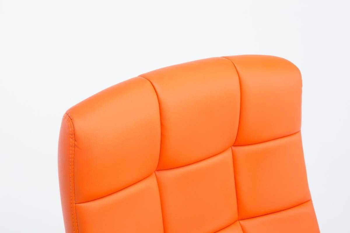 Chaise de Bureau /à Roulette R/églable en Hauteur et Pivotante avec Accoudoirs CLP Fauteuil de Bureau Ergonomique MIKOS Couleurs au Choix : Orange Rembourr/ée avec Rev/êtement en Similicuir