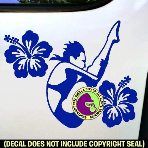 HIBISCUS SPRINGBOARD DIVER FEMALE Vinyl Decal Sticker A