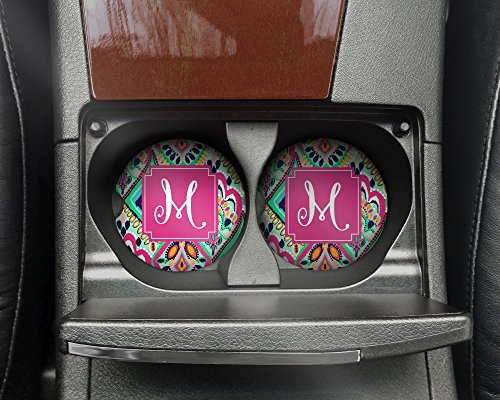 Monogrammed Car Coasters - Single Initial M - Absorbent Sandstone - Crown Jewels (SET of 2)