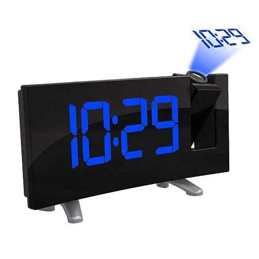 ONEVER Reloj con proyector Digital LED, Pantalla LED Curva (FM 7.1)  con Reloj Radio Atenuador Pantalla de Techo Cargador USB (Blue)