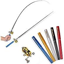 Mini Travel Fishing Fish Pen Reel Rod Pole Gift Alloy E
