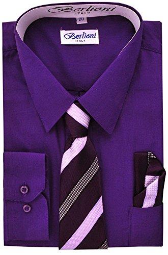 Berlioni Boys Italian Long Sleeve Dress Shirt with Tie & Hanky-PURPLE-10 (Shirt Collar Italian Cotton Dress)