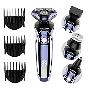 Electric Shaver,4 in 1 Men's Rotary Shavers Rechargeable Wet & Dry Mens Razors Cordless Beard Nose Hair Trimmer for Men Hair Clippers+ Facial Cleaning Brush Shaving&Grooming Sets