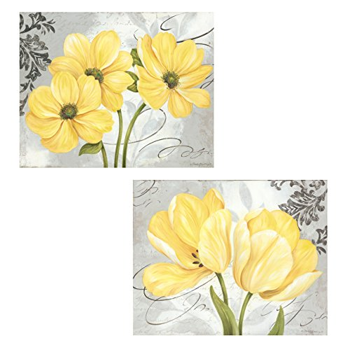 Beautiful Grey U0026 Yellow Flower Prints; Two 16x12 Posters