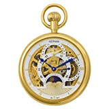 Gotham Men's Gold-Tone 17 Jewel Mechanical Dual Time Zone Pocket Watch # GWC14046G, Watch Central