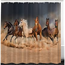 Ambesonne Horse Shower Curtain Country Khaki Bathroom Decor by, Masculine Running Horses Southwestern Home Accessories House Decor Gifts for Equestrians Farm Set with Hooks Brown Charcoal Gray Cream