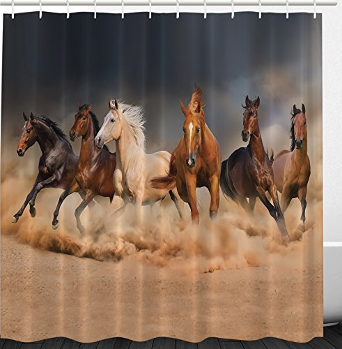 Country Khaki Bathroom Decor by Ambesonne, Masculine Running Horses Southwestern Home Accessories House Decor Gifts for Equestrians Farm Set with Hooks Brown Charcoal Gray Cream (Southwestern Gift)