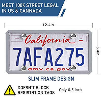 ONE PIX License Plate Frame Silicone License Plate Covers Holders Rust-Proof/Rattle-Proof/Weather-Proof for Car License Plate - Grey: Automotive