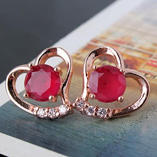Chokushop Best Quality 14 Fashion Love Heart 18k Rose Gold Plated Red Color Stones CZ Stud Earrings Female E035d