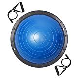 LeeMas Inc Blue 22.8''/58cm Yoga Balance Trainer Half Ball w/ 2 Elastic Strings & Air Pump for Home Gym Core Training Fitness Ab Strength Workouts