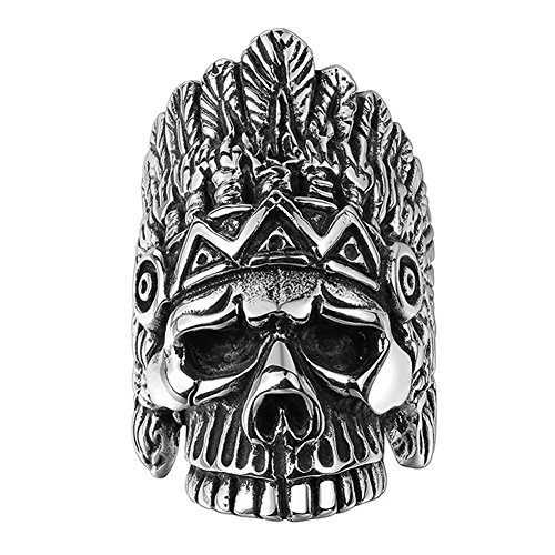 AGOKO Mens The Ancient Mayan Savage Personality Retro Titanium Steel Ring(Diameter:19.8mm)