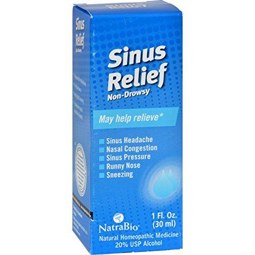 NatraBio Sinus Relief Non-Drowsy - Homeopathic Remedy for Sinus Headache, Nasal Congestion, Sinus Pressure - 1 fl oz (Pack of ()