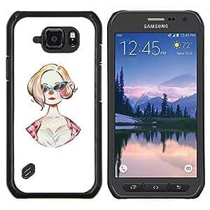 Caucho caso de Shell duro de la cubierta de accesorios de protecci¨®n BY RAYDREAMMM - Samsung Galaxy S6Active Active G890A - Gafas de sol 50S Moda Peinado Pin Up Dress