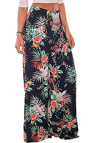 - Rainlover Women's Casual Floral Print Belted Summer Beach High Waist Wide Leg Pants with Pockets (X-Large, Navy Blue)