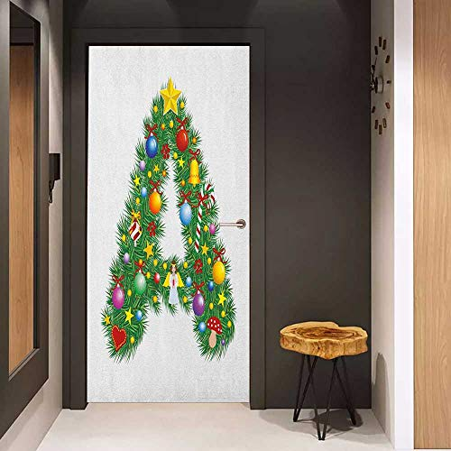 Onefzc Glass Door Sticker Decals Letter A Tree Star from Winter Celebrations Praying Angel Mini Stars Letter A Font Concept Door Mural Free Sticker W32 x H80 ()