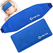 2 Pcs Fever Cooling Pad, Premium Reusable Soft Gel Ice & Eye Mask with Elastic Strap - Comfortable for Baby Kids - Easy for Parents - Hot Cold Therapy for Migraine Relief, Bruises - By WORLD-BIO, Blue