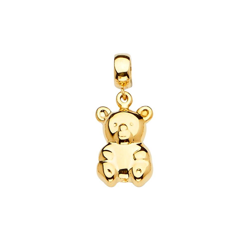 GoldenMine 14k Yellow Gold Bear Charm for Mix/&Match Bracelet Size : 24 x 10 mm
