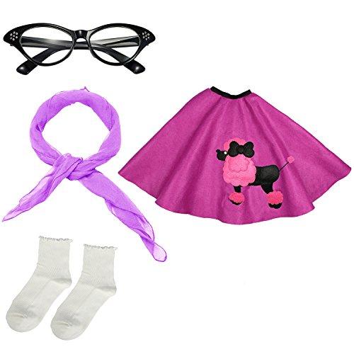 Girls 1950s Costume Accessory Set - Poodle Skirt, Chiffon Scarf, Cat Eye Glasses,Bobby Socks (Purple)