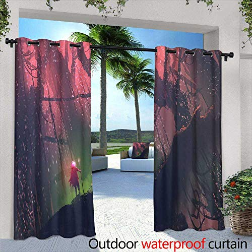 Outdoor Privacy Curtain for Pergola,Forest seamless pattern with cute owls Great choice for cloth design, wallpaper, textile, wrapping and other pattern fills Vector illustration ,W72