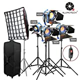 Alumotech 150W 300W 650W 1400Watt Fresnel Tungsten Spotlight Halogen Lamp Dimmer Built-in Cord Dimming Studio Video Light With Softbox For Camera Lighting Compatible Arri Bulb