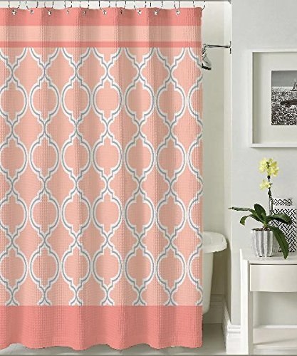 BHPNY Terrlis Canvas Shower Curtain Coral