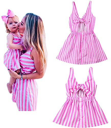 (Mommy and Me Pink Striped Print Spaghetti Straps Dresses Family Matching Sleeveless Bow Tie Knot Front Midi Dress (Mom/M))