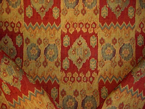 160RT6 - Burnt Red / Sea Green / Soft Blue / Sand / Gold Arabesque Kilim Medallion Motif Designer Upholstery Drapery Fabric - By the ()