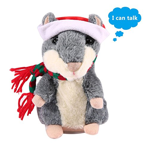 niceEshop(TM) Peluche Parlante Hamster, Hamster en Peluche Qui Peut Parler, Jouet en Peluche Parlant Hamster Enregistreur pour Enfant et Bébé (Gris)