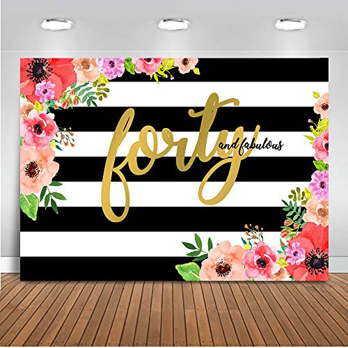 Mocsicka Forty and Fabulous Backdrop 7x5ft Black and White Stripe Floral Photography Background Happy 40th Birthday for Elegant Lady Photo Backdrops