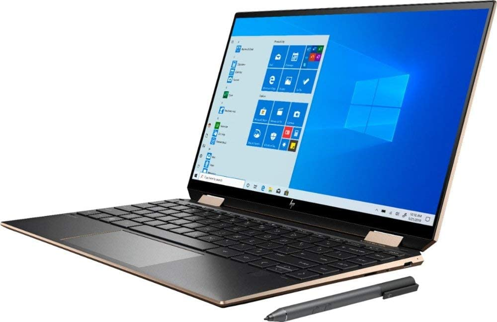 "HP Spectre X360 2020 GEM Cut 13.3"" FHD Touch Laptop, Intel i7-1065G7, 16GB RAM, 512GB SSD, Bang & Olufsen, Fingerprint Reader, HP Stylus, Nightfall Black, Win 10 Home, 64GB TechWarehouse Flash Drive"